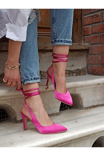 Kadın Fuşya Renk Saten Ipli Topuklu Ayakkabı