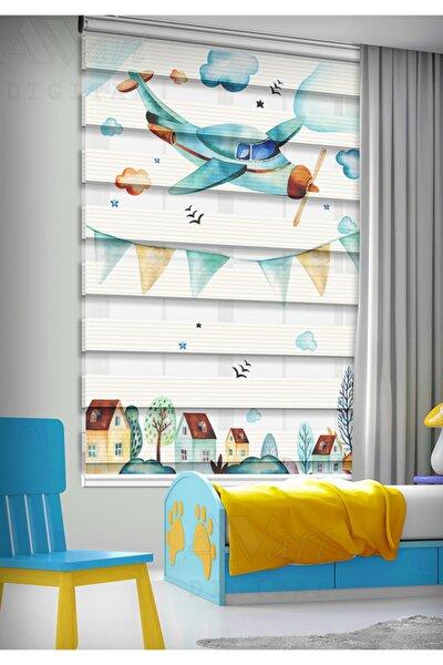Uçak Desenli Çocuk Odası Perdesi - Baskılı Zebra Perde