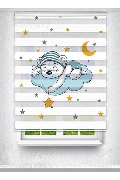 Sevimli Uyuyan Ayıcık Baskılı Zebra Perde - Çocuk Odası Perdesi - Baskılı Zebra Perde