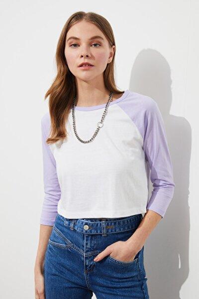 Lila Basic Reglan Kol Örme T-Shirt TWOSS21TS0217