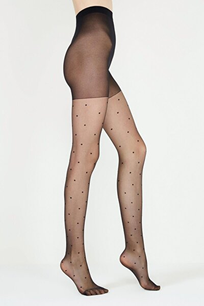 Stil Puantiyeli Külotlu Çorap | Siyah