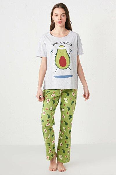 Kadın Açık Yeşil Baskı Pijama Takım