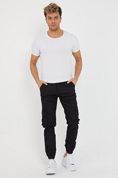 Erkek Beyaz Slim Fit None Denim Yanı Körüklü Cepli Paça Ve Beli Lastikli Esnek Kumaş Kargo Pantolon