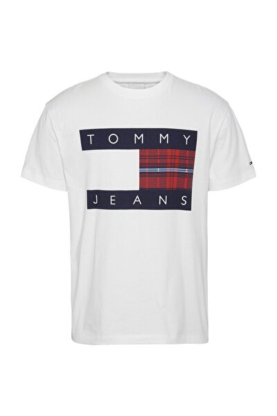 Erkek Beyaz Tjm Plaıd Centre Flag Tee T-Shirt
