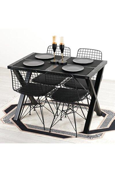 Woody Siyah Bahçe Balkon Masa Sandalye Takımı