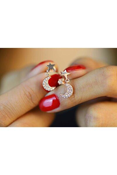 925 Ayar Gümüş Zirkon Taşlı Rose Kaplama Küpe