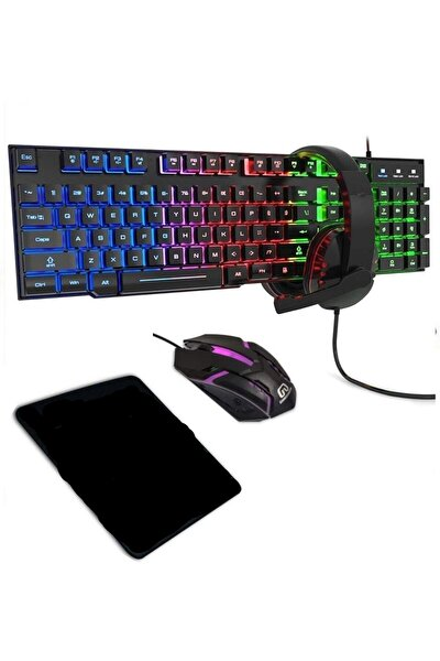 4in1 Rgb Klavye Mause Razer Pad Kulaklık Esport Oyuncu Gaming Set