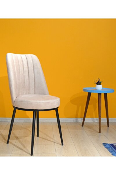 Gold Sandalye Krem - Metal Siyah Ayak - Jerry Silinebilir Kumaş