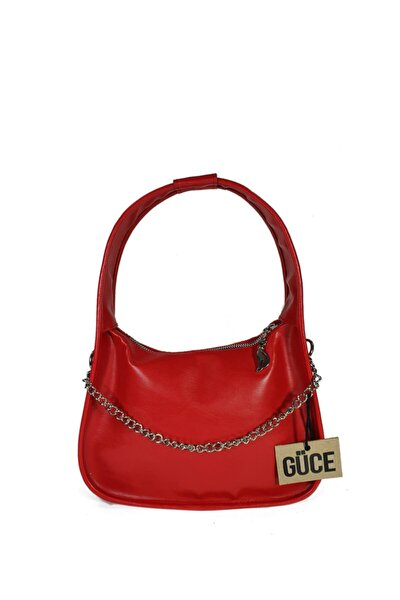 Kırmızı Zincirli Aksesuarlı Baget Baguette El Ve Omuz Çantası Gc012902
