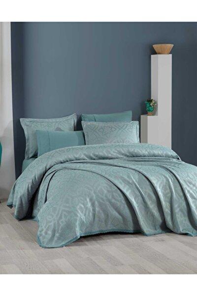 Yatak Örtüsü Takımı Tek Kişilik Pamuk Dantelli Alen Yeşil