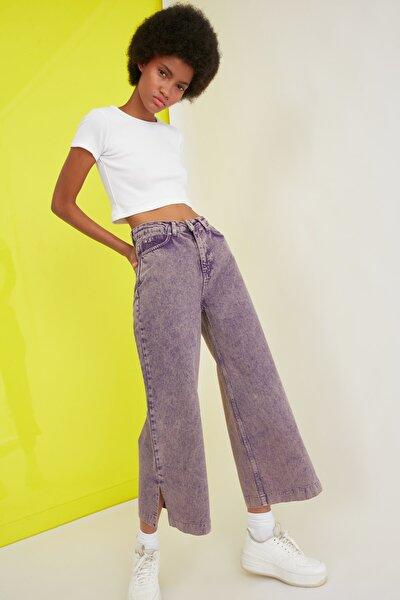 Mor Paçası Yırtmaçlı Yüksek Bel Culotte Jeans TWOSS21JE0325