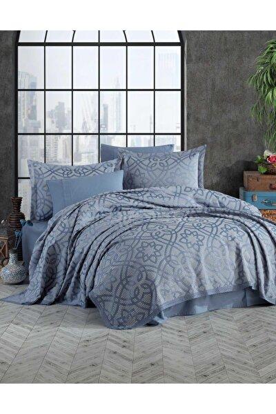 Yatak Örtüsü Takımı Çift Kişilik Pamuk Dantelli Alen Mavi