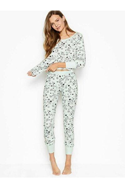 Kadın Beyaz Termal Uzun Pijama Takımı