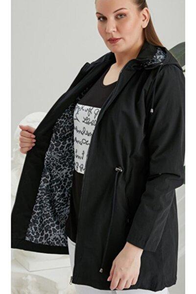 KAdın Siyah Iç Astarlı Leopar Desenli Büyük Beden Trenç Kot