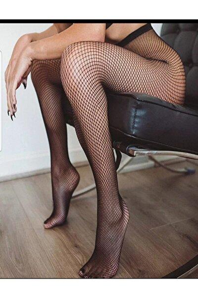Kadın Siyah Fileli Külotlu Çorap