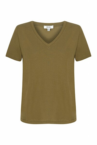 Kadın Haki V Yaka Basic T-shirt