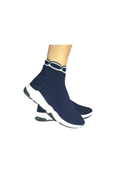 Kadın Lacivert Triko Streç Çorap Bot Sneaker Günlük Spor Ayakkabı
