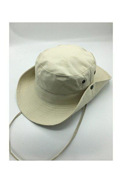 Unisex Bej Yazlık Katlanabilir Safari Fötr Şapkası