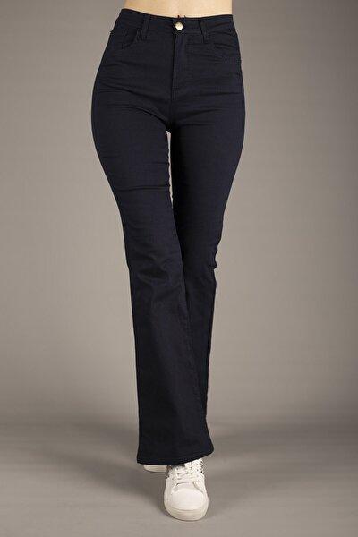 Kadın Lacivert Yüksek Bel Ispanyol Paça Pantolon