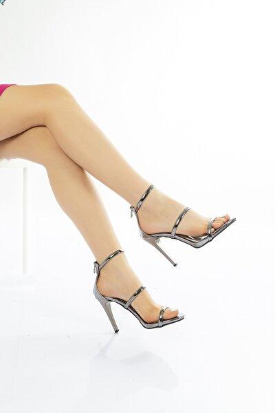 Kadın Platin Çift Bantlı Abiye Şık Yazlık Topuklu Ayakkabı