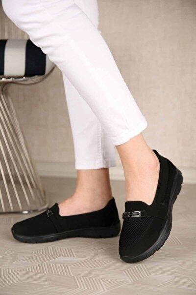 Kadın Siyah Toka Kemerli Ortopedik Ayakkabı