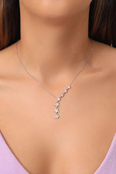 Tamamı Saf 925 Ayar Gümüş Beyaz Zirkon Taşlı Sıralı 7 Yıldızlı Model Gümüş Kolye