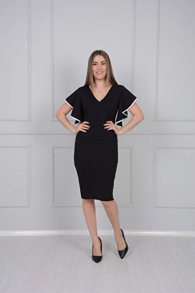 Crep Kumaş Volanlı Elbise - Siyah