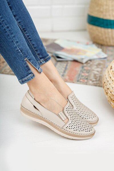 Hakiki Deri Bej Kadın Ayakkabı
