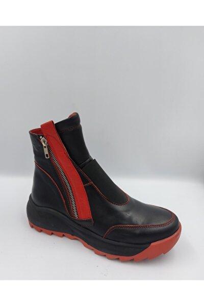 Kadın Siyah Kırmızı Hakiki Deri Bot