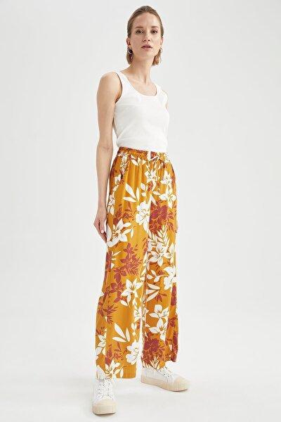 Kadın Sarı Relax Fit Pantolon