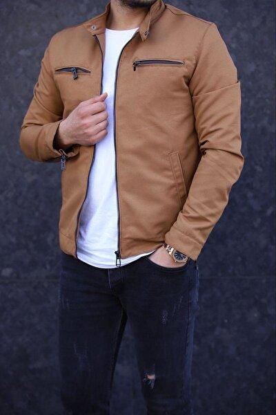 Erkek Taba Renk Fermuar Detay Baharlık Ceket