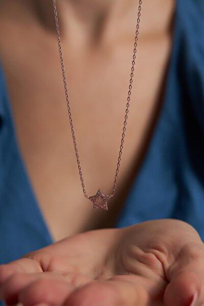 Ninova Yıldız Model Zirkon Taşlı Rose Kaplama Gümüş Kolye