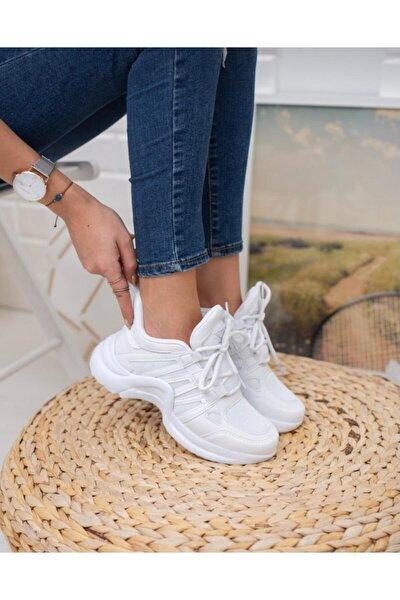 Kadın Beyaz Dolgu Spor Ayakkabı