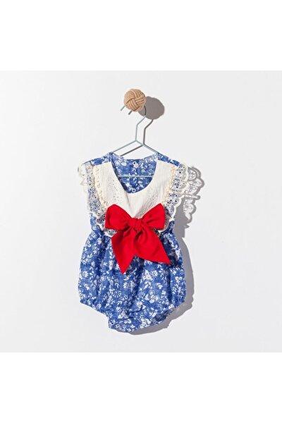 Kız Bebek Mavi Fiyonk Dantel Takım