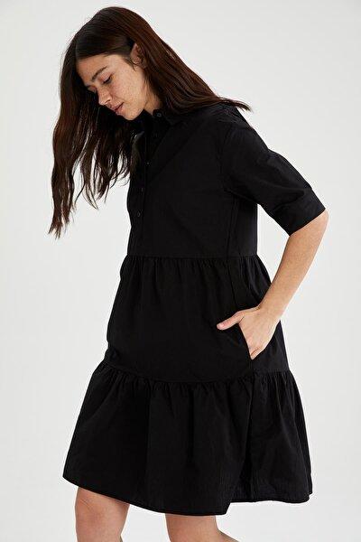 Volan Detaylı Gömlek Yaka Poplin Elbise