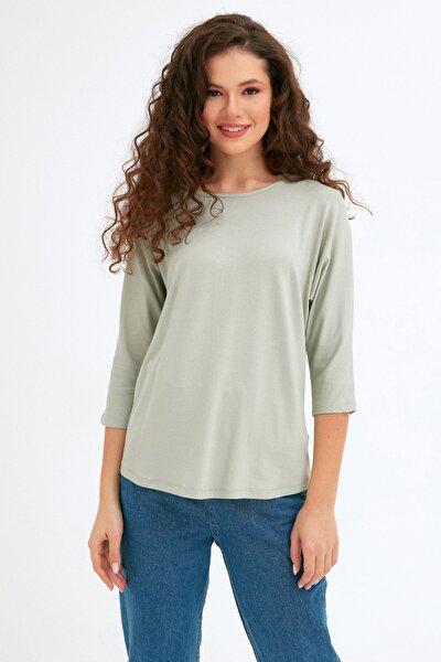 Kadın Yeşil Yarasa Kol Bluz