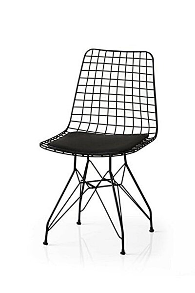 Siyah Tel Sandalye 1. Kalite Mutfak Bahçe Sandalyesi