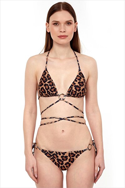 Kadın Kahverengi Leopar Üçgen Kesim Bikini Takımı 40712