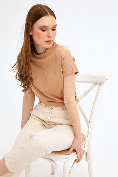 Kadın Camel Bisiklet Yaka Basic Tshirt