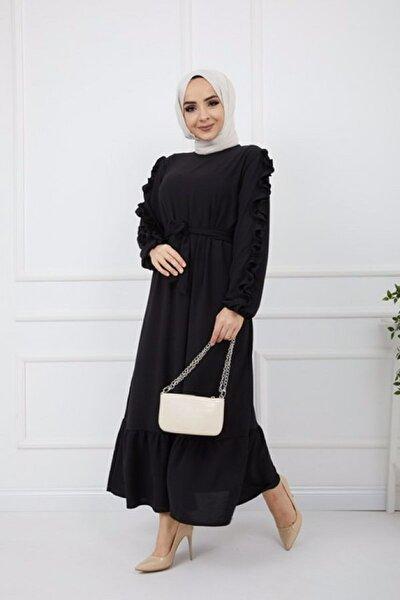 Kol Fırfırlı Ayrobin Kumaş Elbise