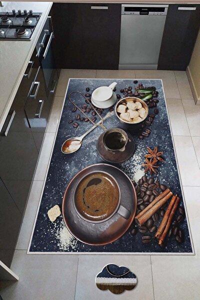 Dekoratif İnce Modern Leke Tutmaz Yıkanabilir Kaydırmaz Mutfak Halısı
