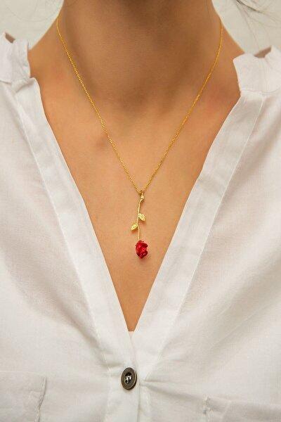 Kadın Altın Kaplama Kırmızı Gül Modelli Kolye