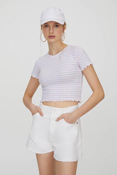 Kadın Beyaz Kare Dokulu Çizgili T-Shirt 04240369