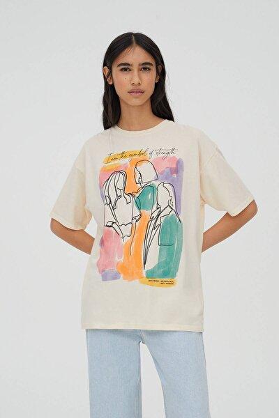Kadın Kum Rengi Renkli Kadınlar Günü Temalı T-Shirt 04240396