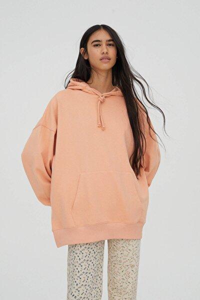Kadın Açık Somon Kanguru Cepli Kapüşonlu Oversize Sweatshirt 04591369