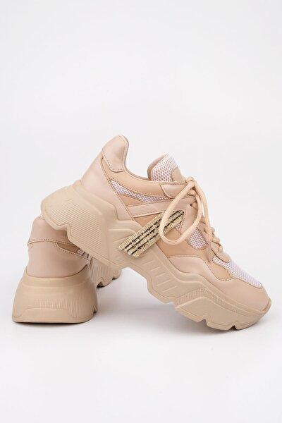Kadın Bej Sneaker Dolgu Topuk Spor Ayakkabı Anka