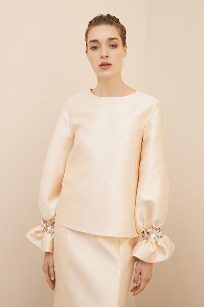 Kadın Nude Bej Volan İşlemeli Bluz