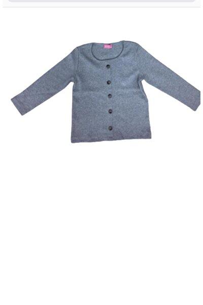Kız Çocuk Gri Uzun Kol T-Shirt