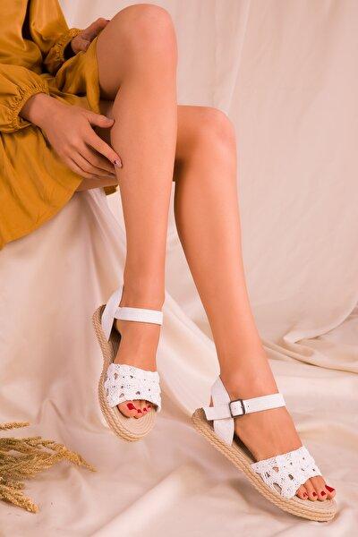 Beyaz Kadın Sandalet 15983