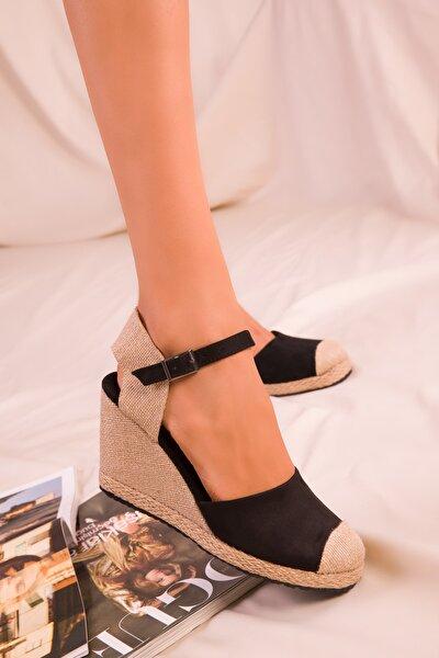 Siyah Süet Kadın Dolgu Topuklu Ayakkabı 15989